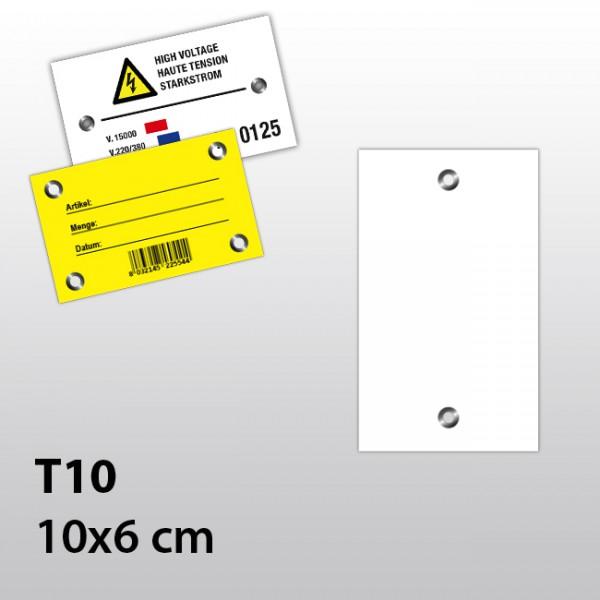 T10-Hängeetiketten aus Kunststoff mit zwei Ösen 10x6 cm