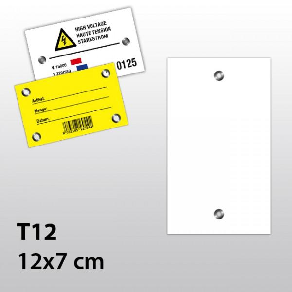 T12-Hängeetiketten aus Kunststoff 12x7 cm