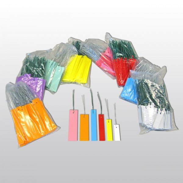 F13-Hängeetiketten mit Draht aus PVC 10x3 cm